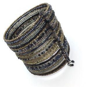 Black Gold Wide Beaded Cuff Bracelet